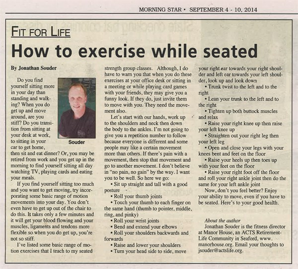 exercise while seated