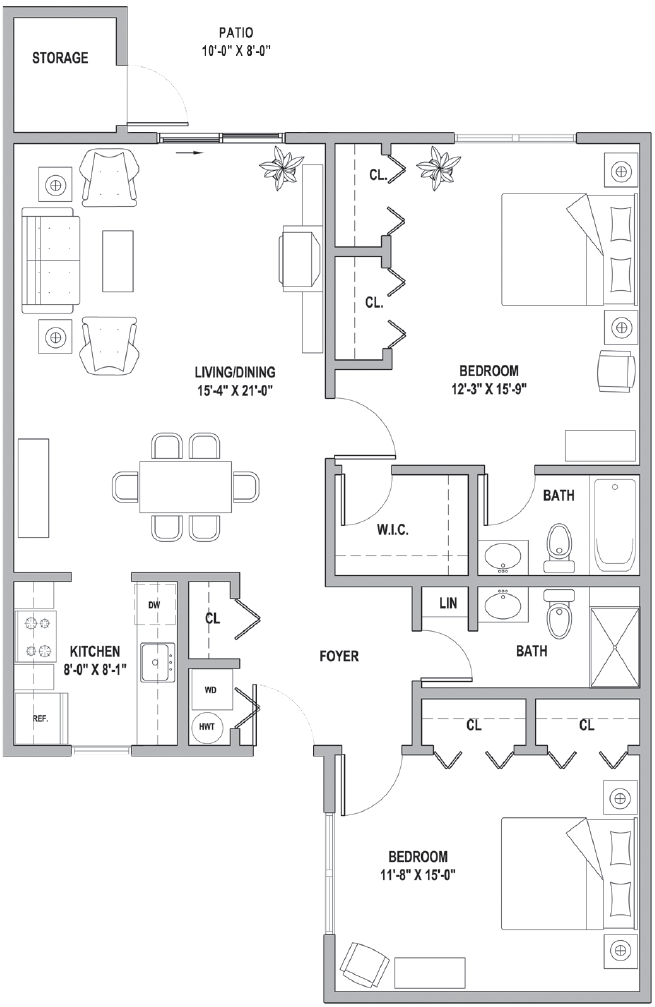 FH Two Bedroom Classic Cottage 1201 Sq Ft.png