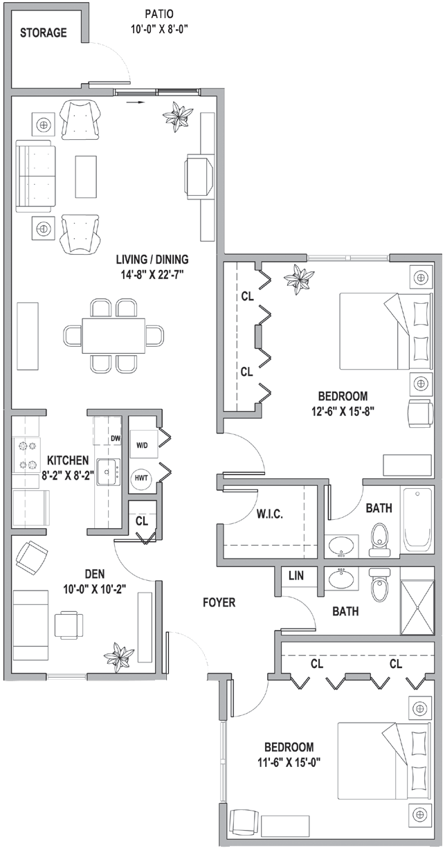 FH Two Bedroom-Den Classic Cottage 1382 Sq Ft.png