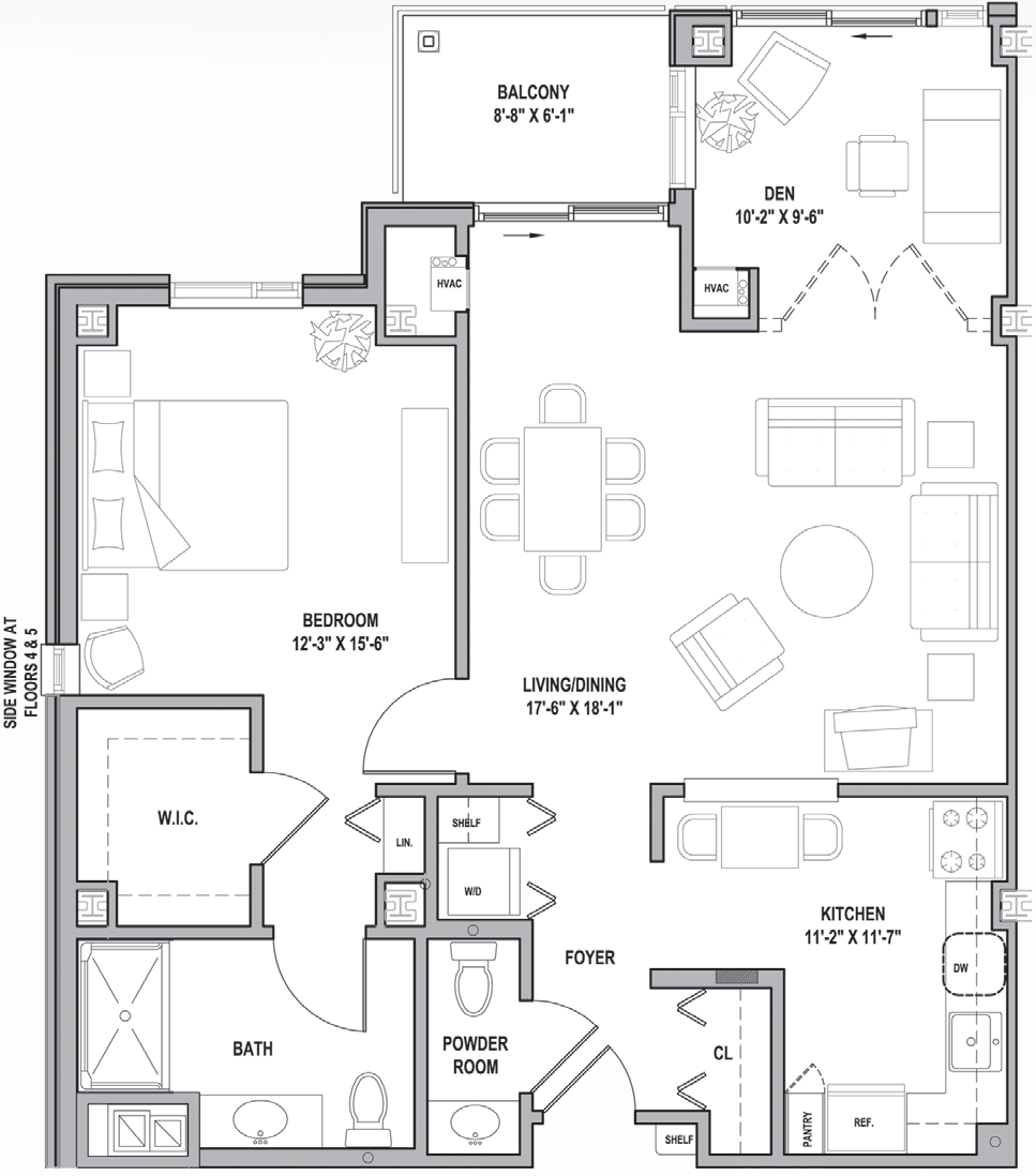 FH Frederick Courtyard One Bedroom-Den 1026 Sq Ft.png