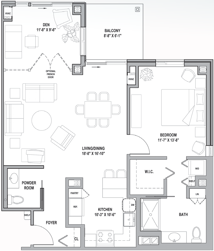 FH Howard Courtyard One Bedroom-Den 1005 Sq Ft.png