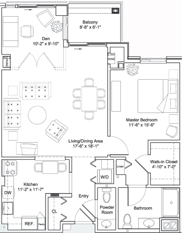 FH Montgomery I&II Courtyard One Bedroom-Den 983-995 Sq Ft.png