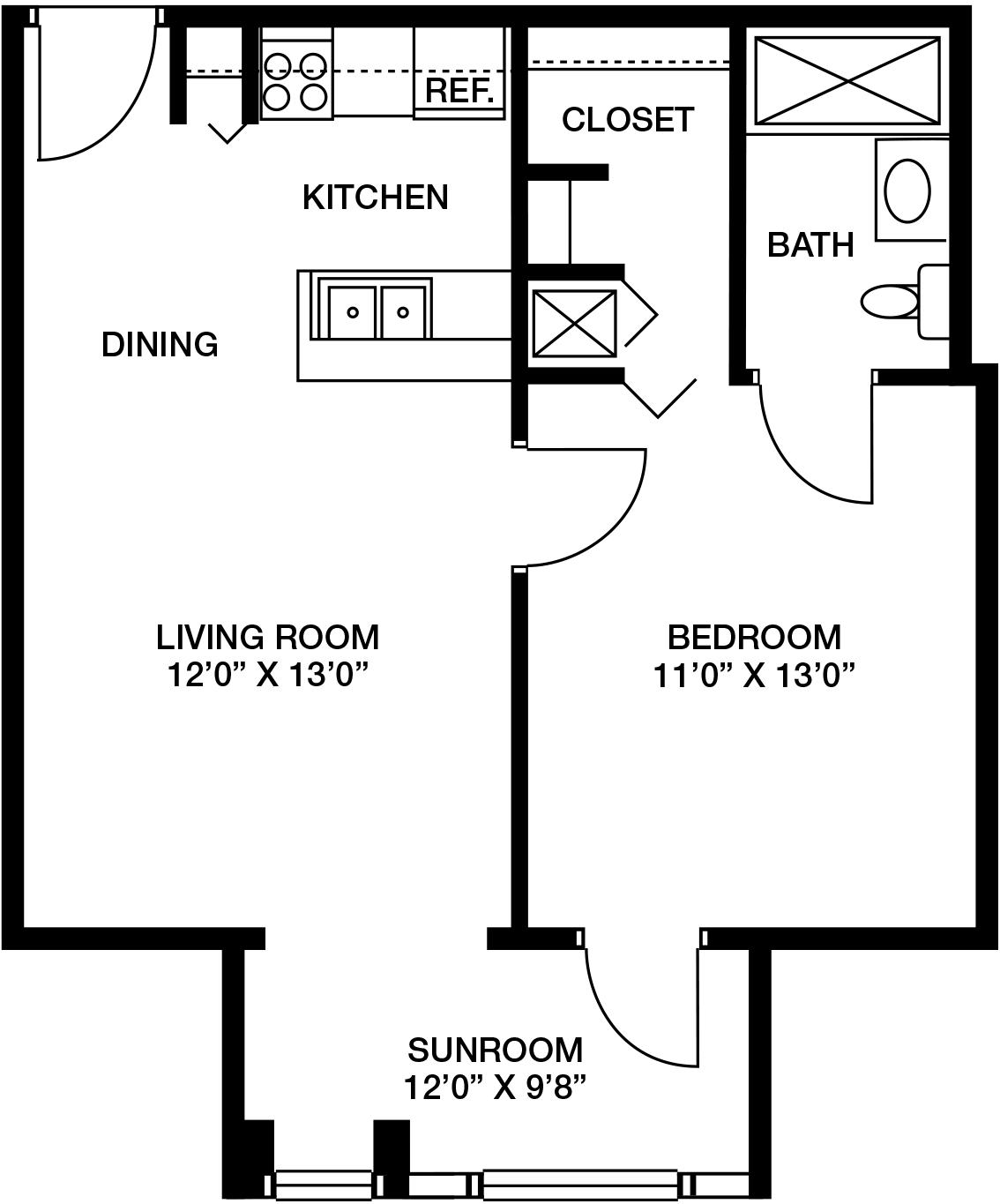 WV Village Oakleigh I-IV One Bedroom 600-675 Sq Ft.png